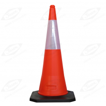 ORANGE HEAVY-DUTY TRAFFIC CONE WITH WHITE REFLECTIVE SLEEVE 1000MM
